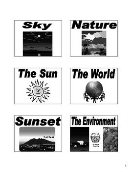 Nature and Environment Bulletin Board and Flash Cards in Spanish