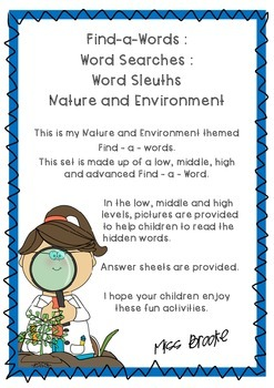 Nature and Environment Word Search Set
