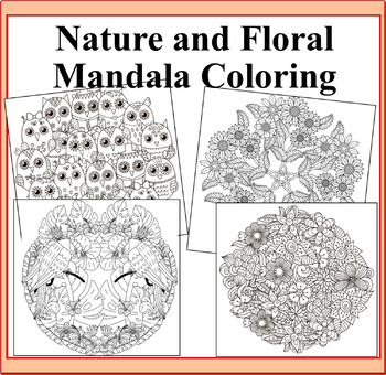 Nature And Floral Mandalas Coloring Pages Nature Flowers Animals Birds Theme