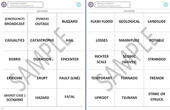 Nature and Weather (C): Natural Disasters Vocabulary Cards (Adult ESL)