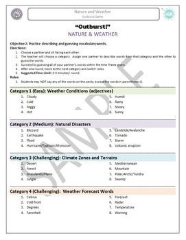 Nature and Weather: Outburst Game (ESL)