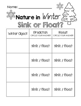 nature in winter sink or float worksheet by little learning lane. Black Bedroom Furniture Sets. Home Design Ideas