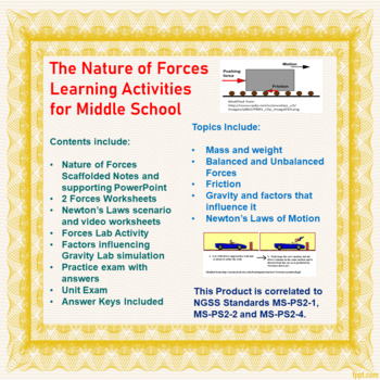 Nature of Forces Lesson Activities (Friction, Newton's Laws and Gravitation)