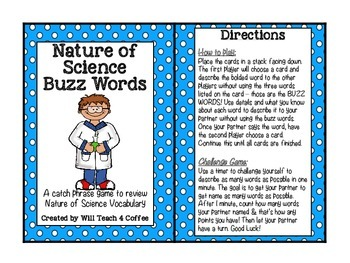 Nature of Science Buzz Words