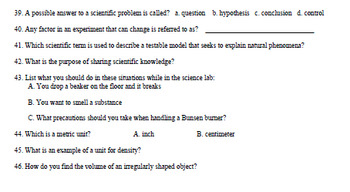 Nature of Science/Characteristics of Science Study Guide