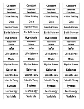 Nature of Science Cut-n-Paste Vocabulary