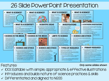 Understanding the Nature of Science PP, Notes & Exam (Differentiated & Editable)