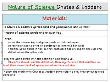 Nature of Science Review Game for Chutes and Ladders