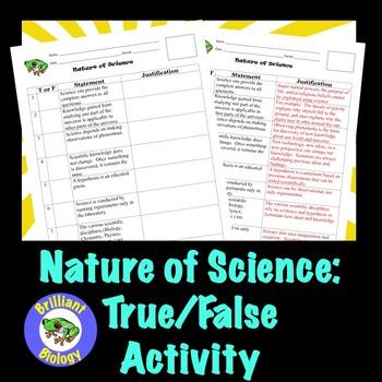 Nature of Science: True/False Activity
