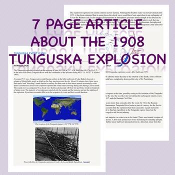 Nature of Science: Tunguska Explosion of 1908 {Common Core Close Reading}