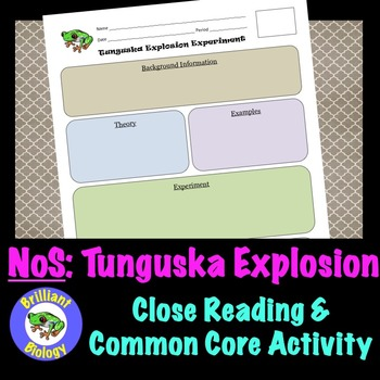 Nature of Science: Tunguska Explosion of 1908 {Common Core