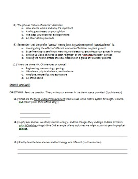 Nature of Science Unit Test