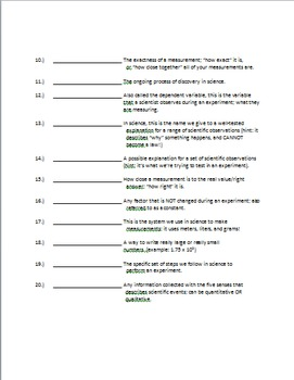 Nature of Science Vocabulary Quiz (with Answer Key)