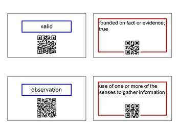 Nature of Science and Measurement Vocabulary Cards