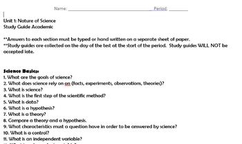 Nature of Science unit add ons