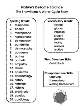 Nature's Delicate Balance Spelling and Skills BUNDLE - All Summary Pages