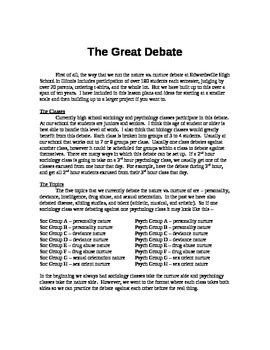 Nature vs. Nurture debate