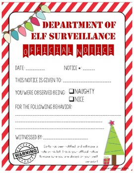 Naughty/Nice notice letter, elf in the classroom