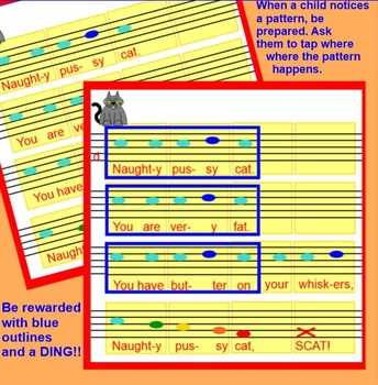 "Naughty Pussy Cat~ Game Song, Prepare / Practice ""ti-ti"", pattern, Smartboard"