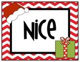 Naughty or Nice Christmas Behavior Chart