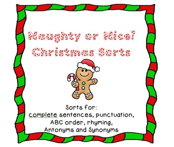 Naughty or Nice? Christmas Language Art Sorts