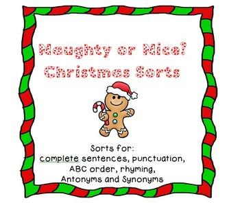 Naughty or Nice? Christmas Language Art Sorts