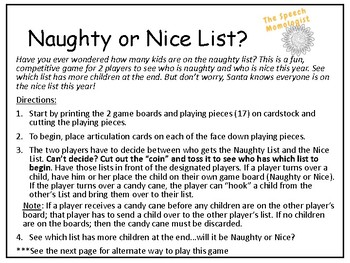 Naughty or Nice List: Speech Therapy Game