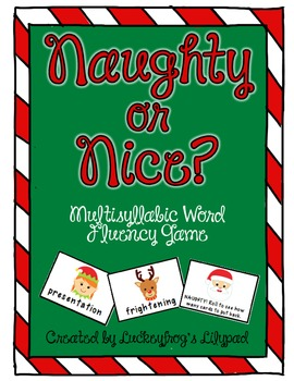 Christmas/ Holiday Multisyllabic Word Decoding Game with Suffixes