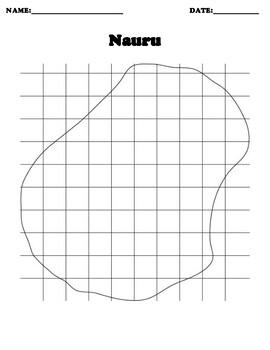 Nauru Coordinate Grid Map Blank