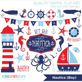 Nautica Boy Clipart, Sailing, Nautical, Red and Blue Sailboats