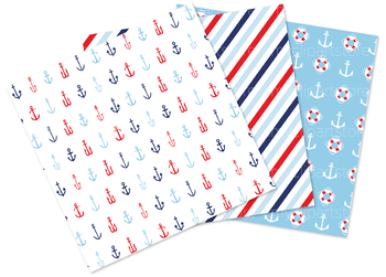 Nautica Boy, Sailing, Nautical, Red and Navy Blue Digital Papers