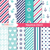 Nautica Girl, Sailing, Nautical, Pink and Navy Blue Digital Papers