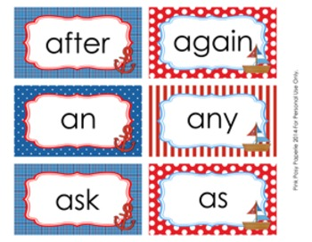 Nautical 1st Grade Dolch Sight Wall Words