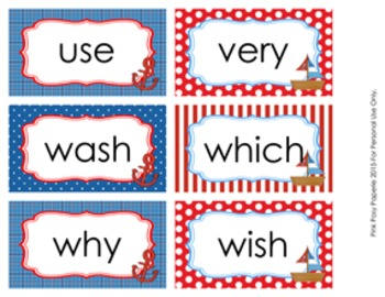 Nautical 2nd Grade Dolch Sight Wall Words