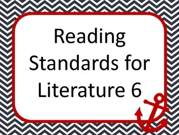 Nautical 6th grade READING common core standard posters