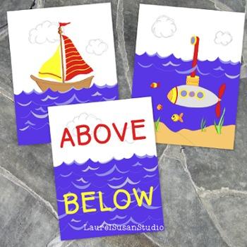 Nautical Above Below Poster Sailboat Submarine PDF JPG PNG Printable