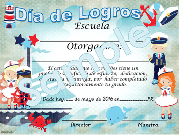 Nautical Achievement award English / Spanish version