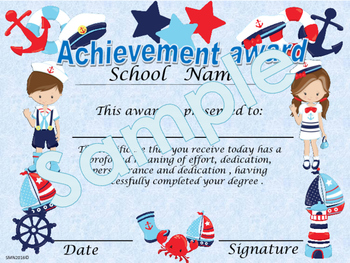 Nautical Achievement award certificate English / Spanish version