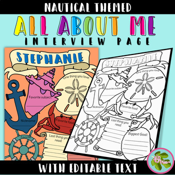 Nautical All About Me Interview & Coloring Page