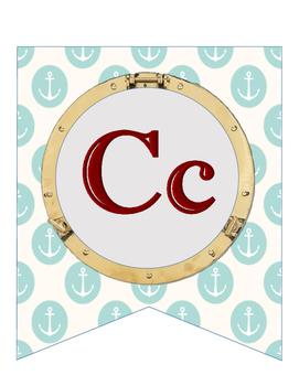 Nautical Alphabet Line Banner