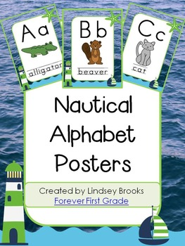 Nautical Alphabet Posters (Navy/Lime)
