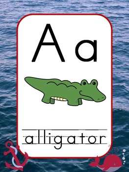 Nautical Alphabet Posters (Navy/Red)
