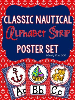 Nautical Alphabet Strip - Classic Navy and Red