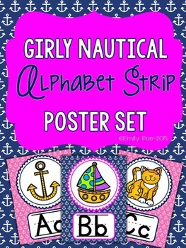 Nautical Alphabet Strip - Girly Pink and Navy