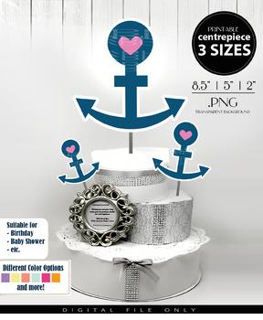 Nautical Anchor Centerpiece, Cake Topper, Clip Art Decoration for Girl shower