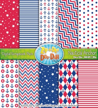 Nautical Anchor Digital Scrapbook Pack (10 Pages)