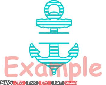 Nautical Anchor Frames SVG Silhouette clipart navy frame split circle 675s