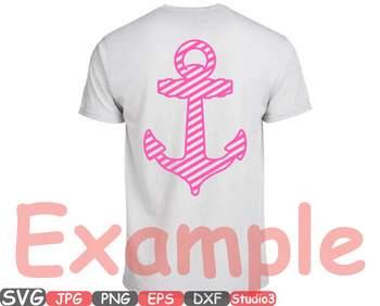 Nautical Anchor SVG Silhouette clipart navy boat marine monogram Ocean sea 674s