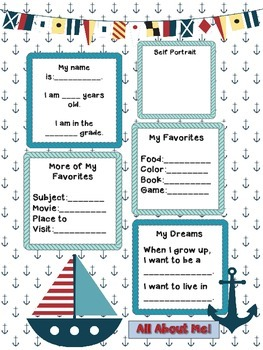 Nautical Anchor Themed All About Me Posters