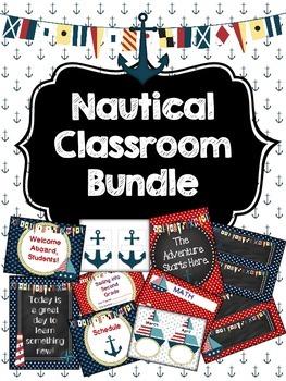 Nautical Anchor Themed Classroom Decoration Set Bundle